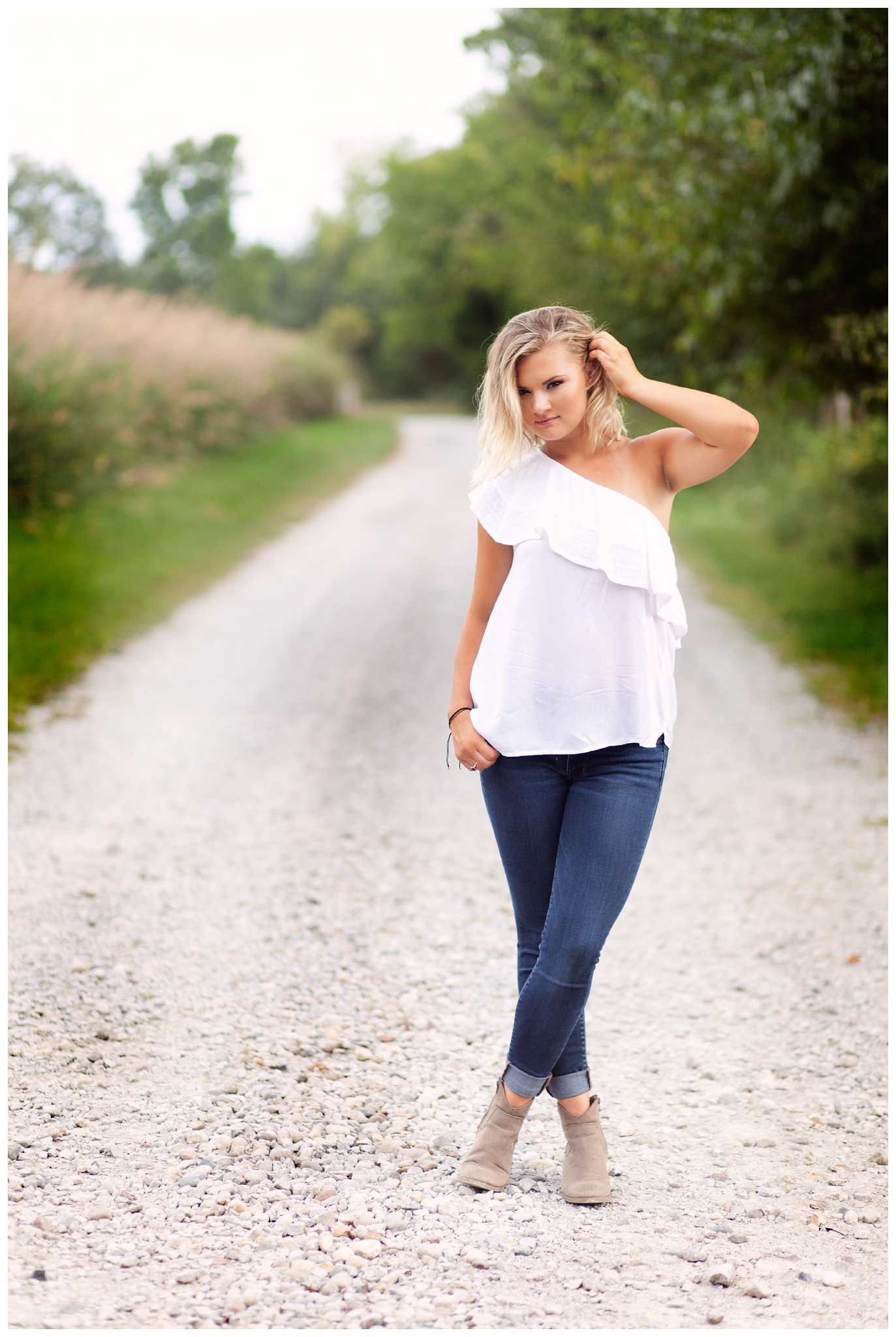 High School Senior Girl in Off Shoulder White Shirt on Rustic Gravel Road Path